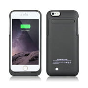 IPhone 6; 6S Plus External Battery Backup Case Charger Power Bank 3500mAh Stand Black