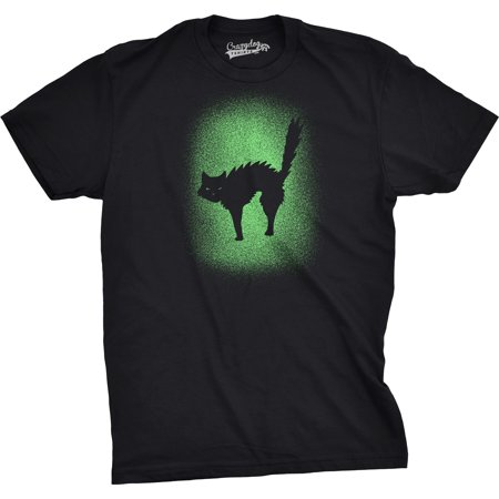 Mens Glowing Cat Tshirt Glow In The Dark Cool Halloween Pet Lover Tee