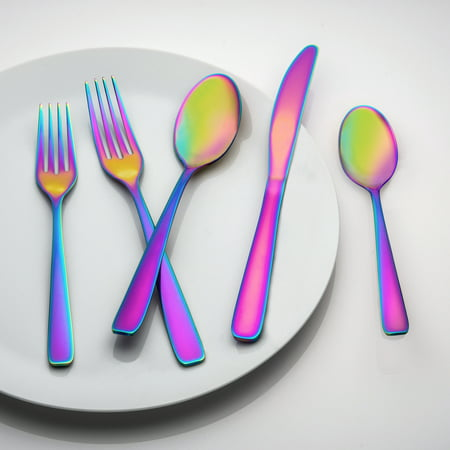 Cranston Rainbow Mirror Flatware Set, 20 Piece (Rainbow Dash 20)