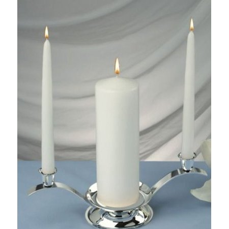 White Unity Candles Set of 3 , 1 Pillar 3