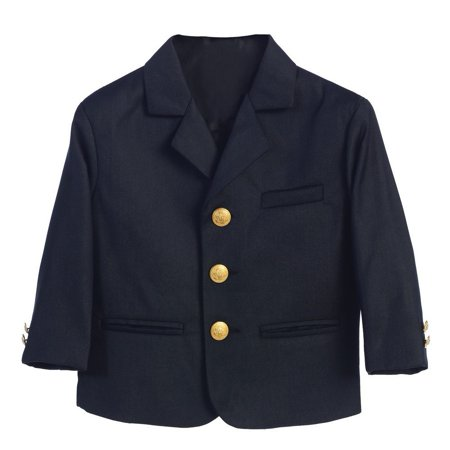 Little Boys Navy Golden Buttons Special Occasion Blazer (Navy Stripe Suit)