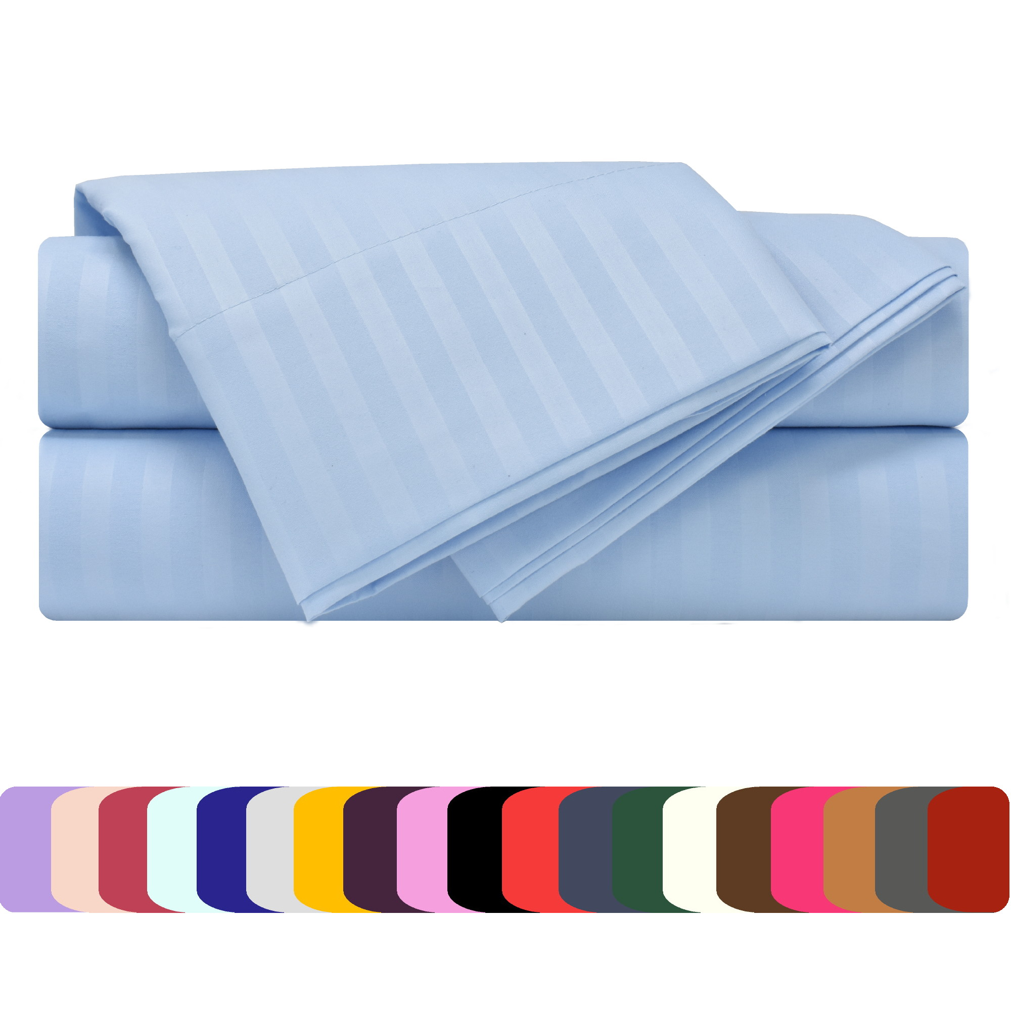 Mezzati Luxury 1800 Prestige Soft and Comfortable Collection Bed Sheets Set Queen Striped Light Blue