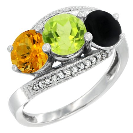 14K White Gold Natural Citrine, Peridot & Black Onyx 3 stone Ring Round 6mm Diamond Accent, sizes 5 - 10