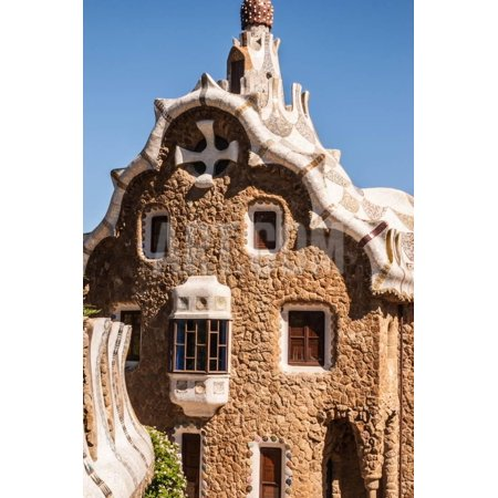 Barcelona Park Guell Fairy Tale Mosaic House on Entrance Print Wall Art By perszing1982
