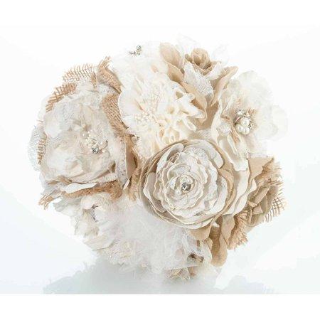 lillian rose burlap and flower wedding bouquet. Black Bedroom Furniture Sets. Home Design Ideas