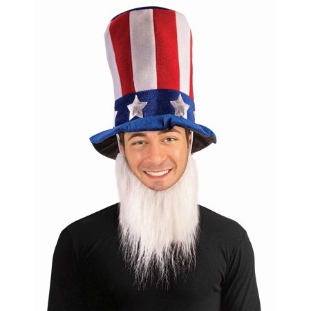 Uncle Sam Hat w/ Beard Men's Costume - Red Beard Costume