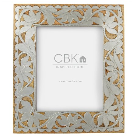 8x10 Silver and Brown Decorative Floral Designed Wood Inlay Frame with Glossy (Wood Inlay Designs)