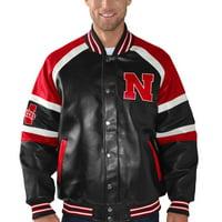 Nebraska Cornhuskers G-III Sports by Carl Banks Defense Pleather Varsity Jacket - Black