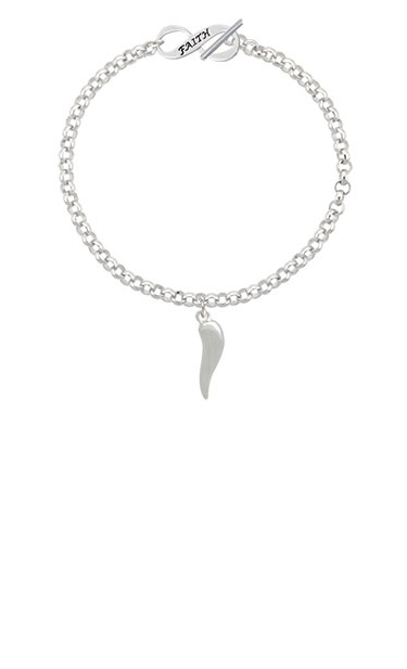 18-Inch Rhodium Plated Necklace with 4mm Light Rose Birthstone Beads and Sterling Silver Saint Peter Nolasco Charm.