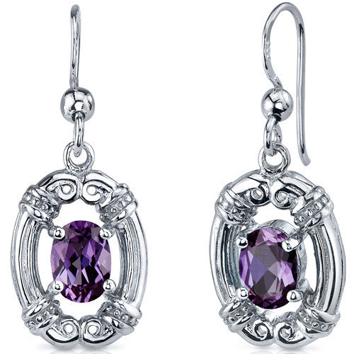 Oravo Antique Style 2.00 Carats Alexandrite Oval Cut Dangle Cubic Zirconia Earrings in Sterling Silver