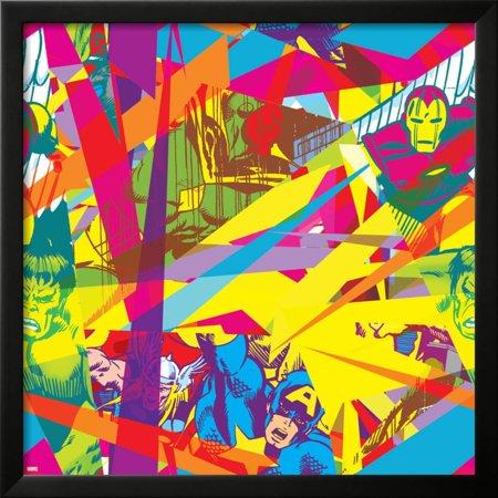 Marvel Comics Retro Pattern Design Featuring Vision, Iron Man, Hulk, Thor, Captain America Framed Poster Wall Art