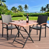 Costway 3PCS Patio Outdoor Garden Dining Set Folding Table Stackable Chairs