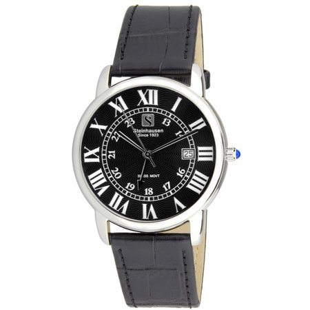 Men's S0719 Classic Del?mont Swiss Quartz Stainless Steel Watch With Black Leather Band