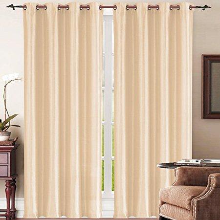 New York Christmas Windows (Simple Elegance New York Faux Silk Window Curtain (Beige))