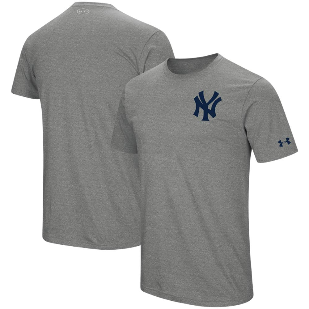 New York Yankees Under Armour Wordmark Core Performance T-Shirt - Heathered Gray