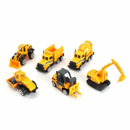 Construction Toys Sets, 6 Pieces Mini Vehicles, Including Truck Forklift Bulldozer Road Roller Excavator Dump Truck Tractor,Free-Wheeling Cars with 8 Accessories for
