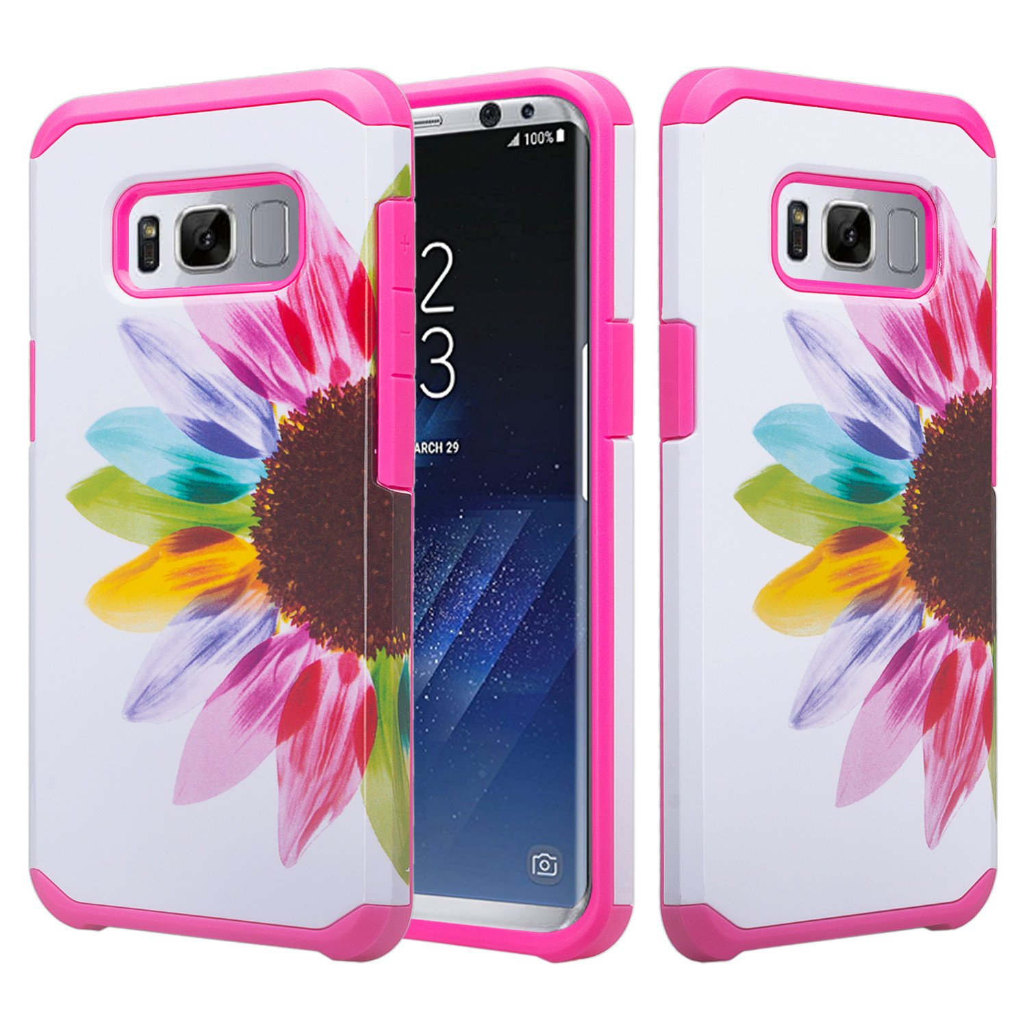 Samsung Galaxy S8 Case, Slim Hybrid Dual Layer[Shock Resistant] Protective Case Cover - Vivid Sunflower