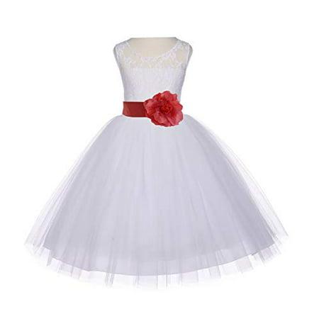 Ekidsbridal Ivory Floral Lace Bodice Tulle Flower Girl Dress Tulle Dresses Girl Lace Dresses Special Occasion Dresses Junior Bridesmaid Dress Easter