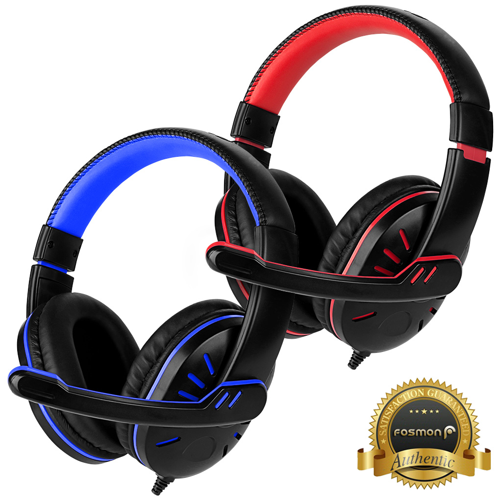 Computer Gaming Headset, Fosmon 3.5mm Over the Ear Stereo Audio Wired Headphones with Microphone & Volume Control Remote for PC xBox PS4 Nintendo Switch (Blue/Red)