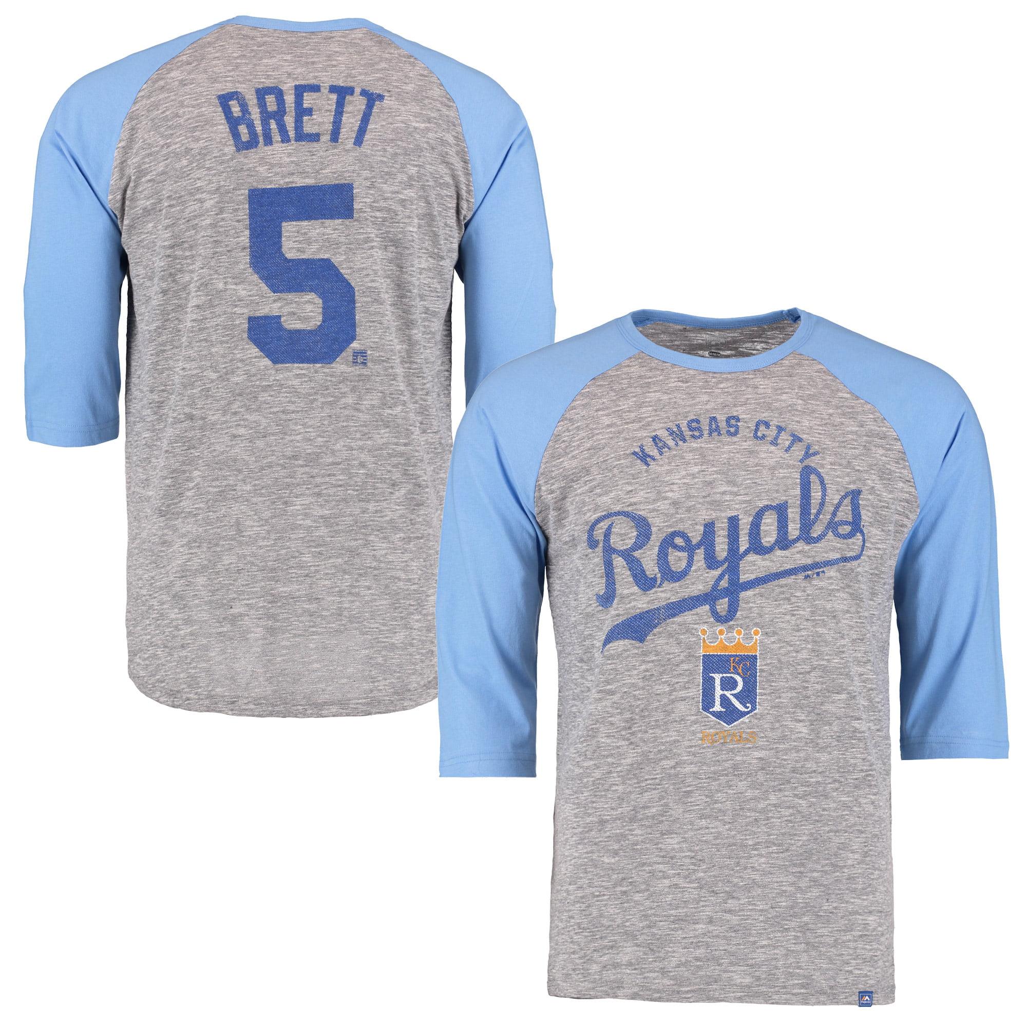 George Brett Kansas City Royals Majestic Player Tactics Cooperstown Three-Quarter Sleeve Raglan T-Shirt - Gray