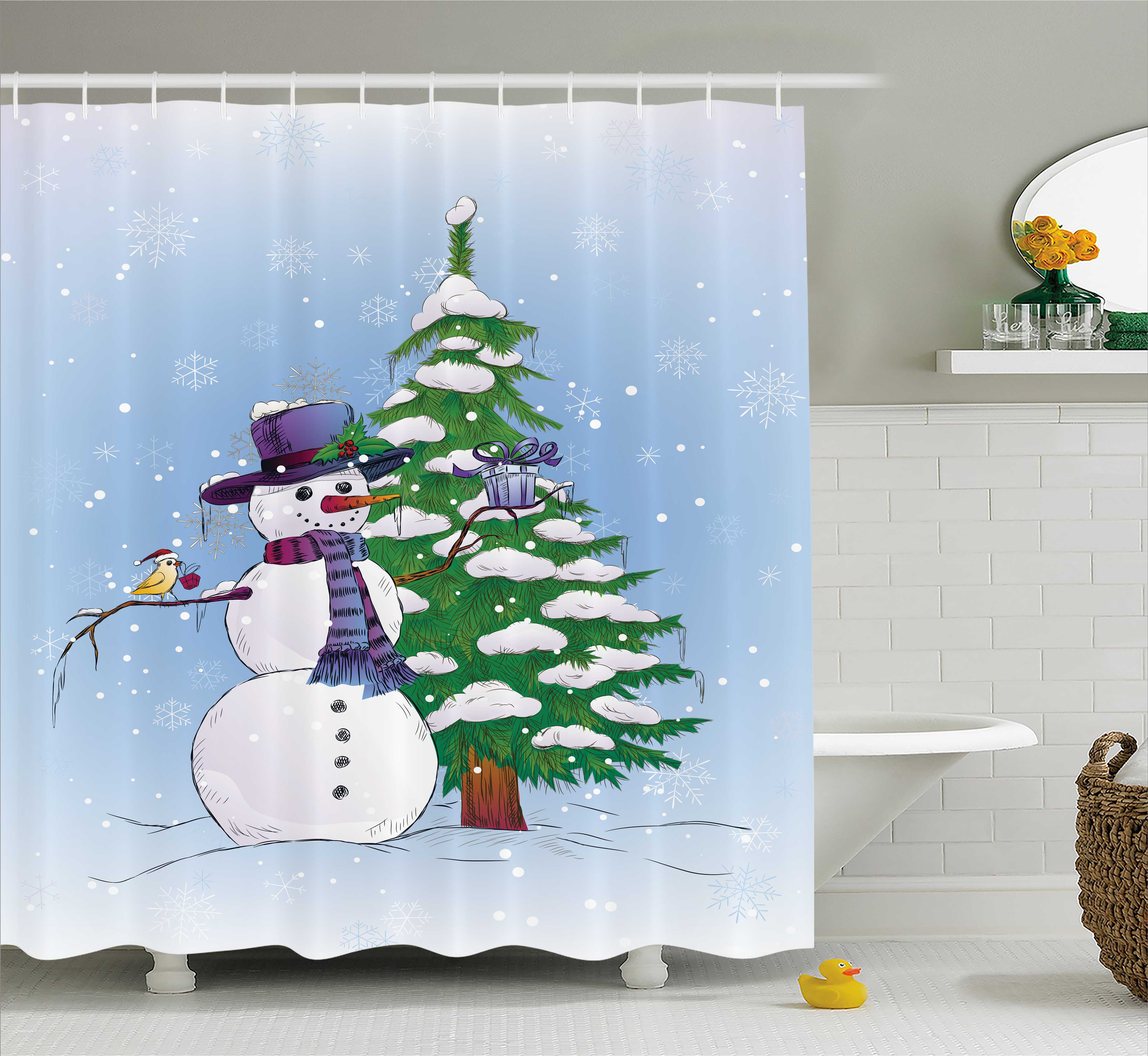 Christmas Decorations Shower Curtain Set, Snowman in Wint...