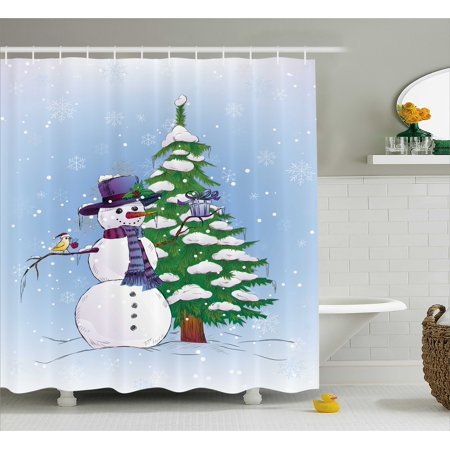 Mistle Toe Hat (Christmas Decorations Shower Curtain Set, Snowman in Winter with Mistletoe Gift Box Top Hat and Scarf Xmas Tree and Bird, Bathroom Accessories,  Blue Green, by)