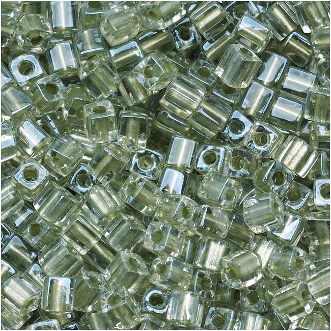 Miyuki 4mm Glass Cube Beads Metallic Light Sage Lined Crystal #2604 10 Grams