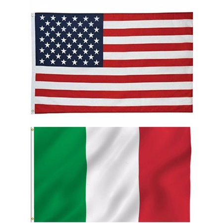 G128 - Wholesale LOT 3' X 5' USA AMERICAN & 3' X 5' ITALY FLAG ITALIAN PRIDE BANNER](Italian Flag Banner)