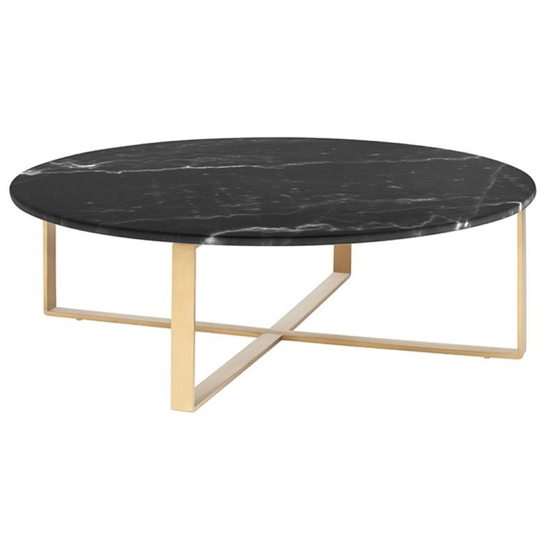 Maklaine Round Marble Top Coffee Table In Gold And Black