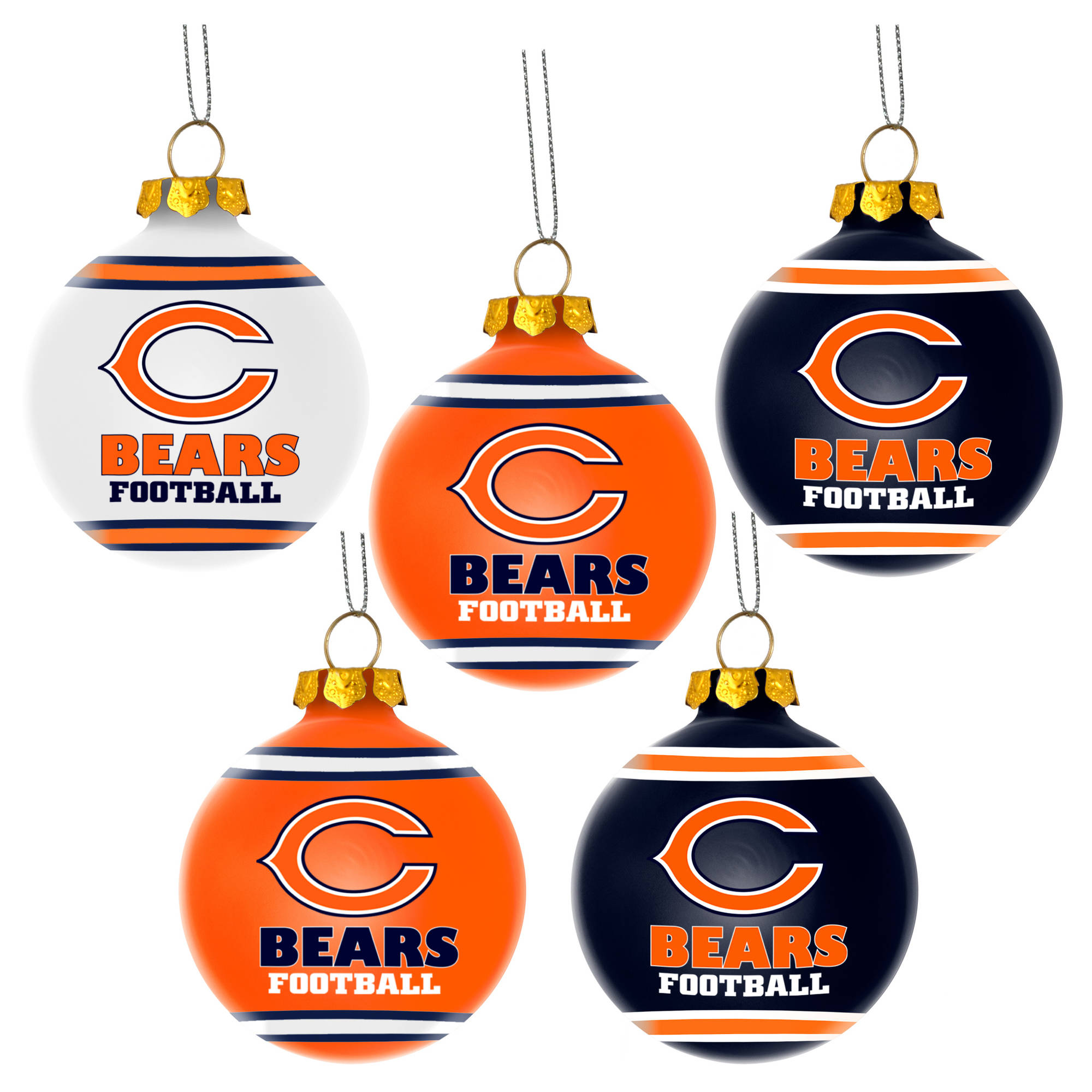 Forever Collectibles NFL 5-Pack Shatterproof Ball Ornaments, Chicago Bears