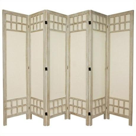 Oriental Furniture Tall Window Pane 6 Panel Room Divider