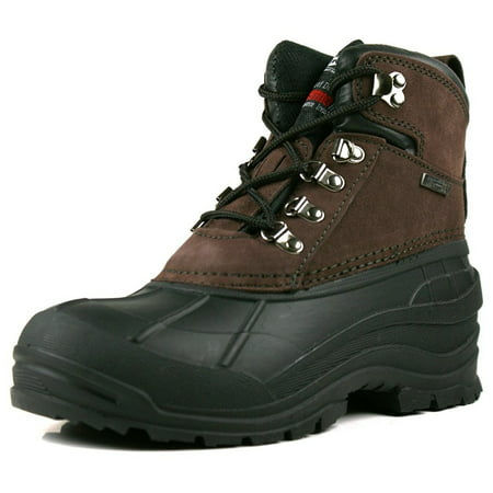 OwnShoe Mens Leather Waterproof Insulated Snow Duck - Insulated Wedge Boot