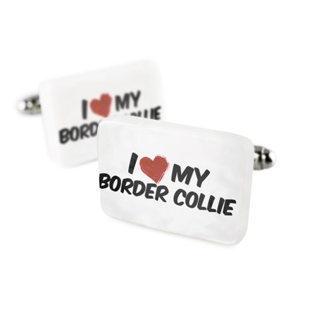 Scottish Border Collie - Cufflinks I Love my Border Collie Dog from Scotland, England, WalesPorcelain Ceramic NEONBLOND