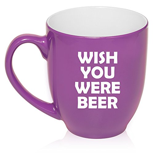 16 oz Large Bistro Mug Ceramic Coffee Tea Glass Cup Wish You Were Beer Funny (Purple)