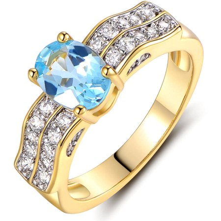 18K Gold Plated Gold and Blue Topaz Ring