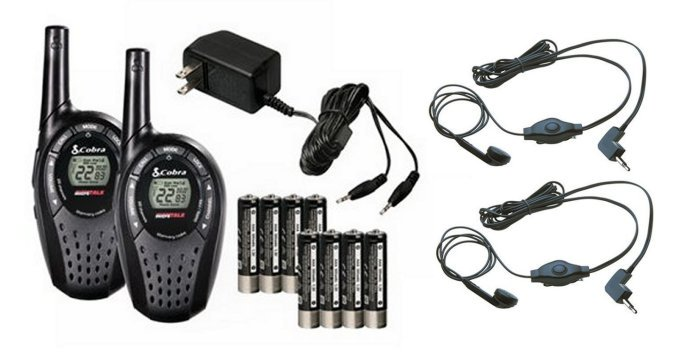 COBRA CXT235 MicroTalk 20 Mile FRS GMRS Walkie Talkie 2-Way Radios + 2 Headsets by Cobra