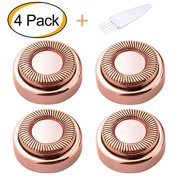 Flawless Facial Hair Remover Replacement Heads for Electric or Battery Flawless Hair Remover, Good Finishing and Well Touch for Lip,Chin,Cheeks and Sideburns As Seen On TV 18K Gold-Plated 4 Counts
