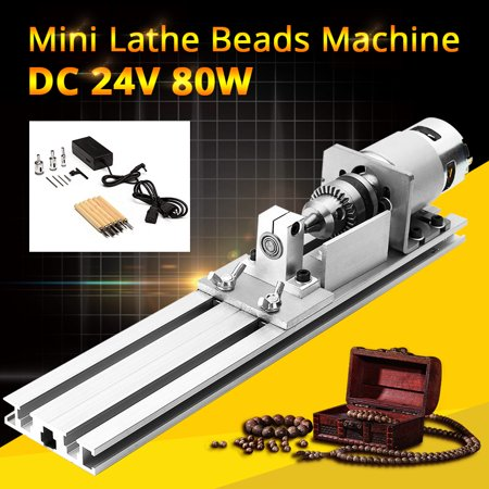 Grtsunsea Mini Lathe Beads Machine Woodworking DIY Lathe Standard Set with Power DC - All In One Woodworking Machine