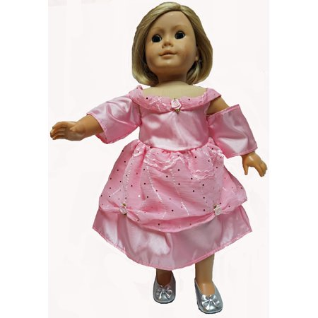 Pink Princess Dress With Designer Material Fits 18 Inch Girl Dolls Like American Girl