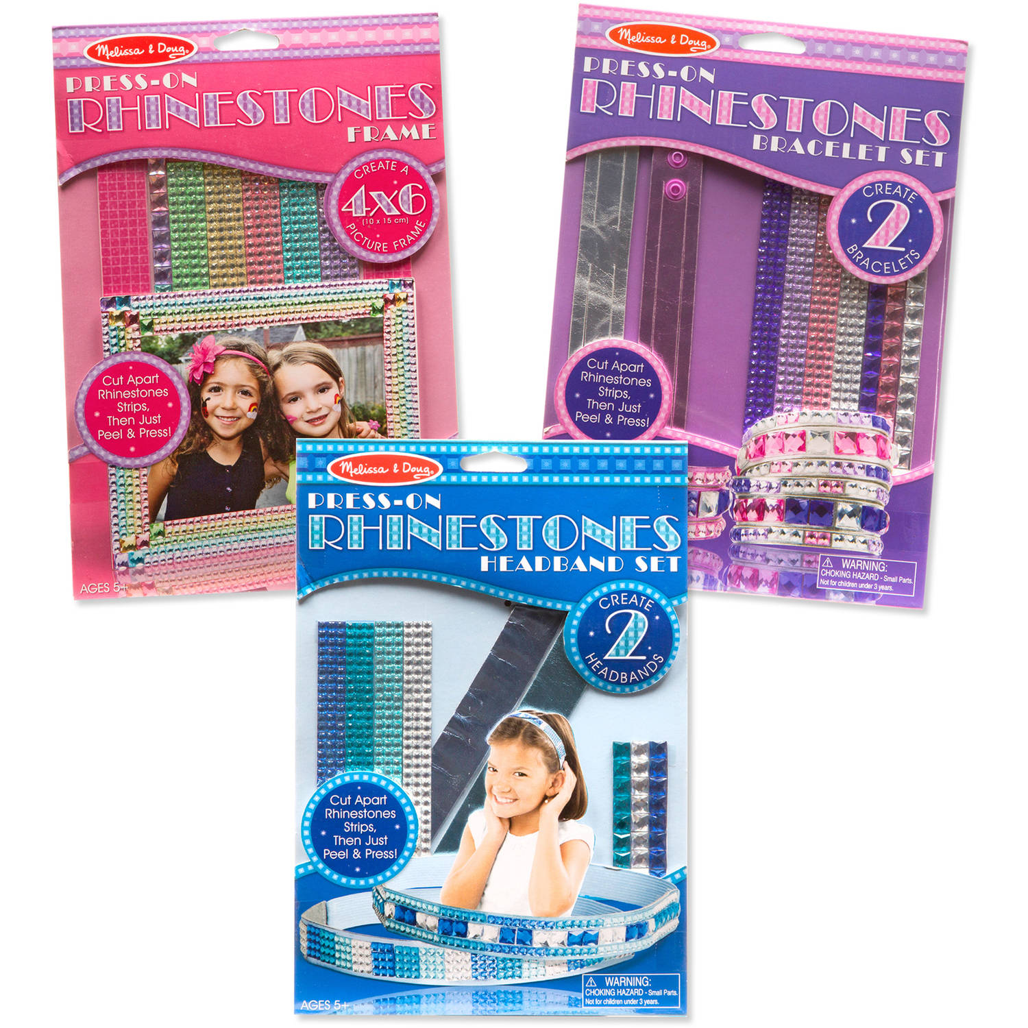 Melissa and Doug Press-on Jewels Rhinestone Picture Frame/Bracelets/Headbands Kit