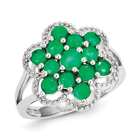 - 925 Sterling Silver Green Emerald Flower Band Ring Size 6.00 Flowers/leaf Gemstone For Women