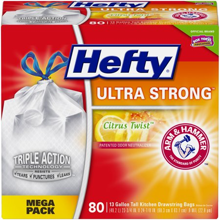 Hefty Ultra Strong Tall Kitchen Trash Bags, Citrus Twist, 13 Gallon, 80 Count