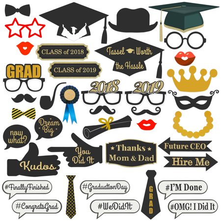 Best Choice Products 38-Piece Class of 2018/2019 Graduation Party Supplies Photo Booth Decoration Prop Set - Multicolor