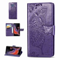 For Samsung Galaxy S7 Edge,Dteck PU Leather Case [Built-in Credit Card Slots] Magnetic Design Flip Folio Leather Cover Case with Flower Butterfly Pattern,purple