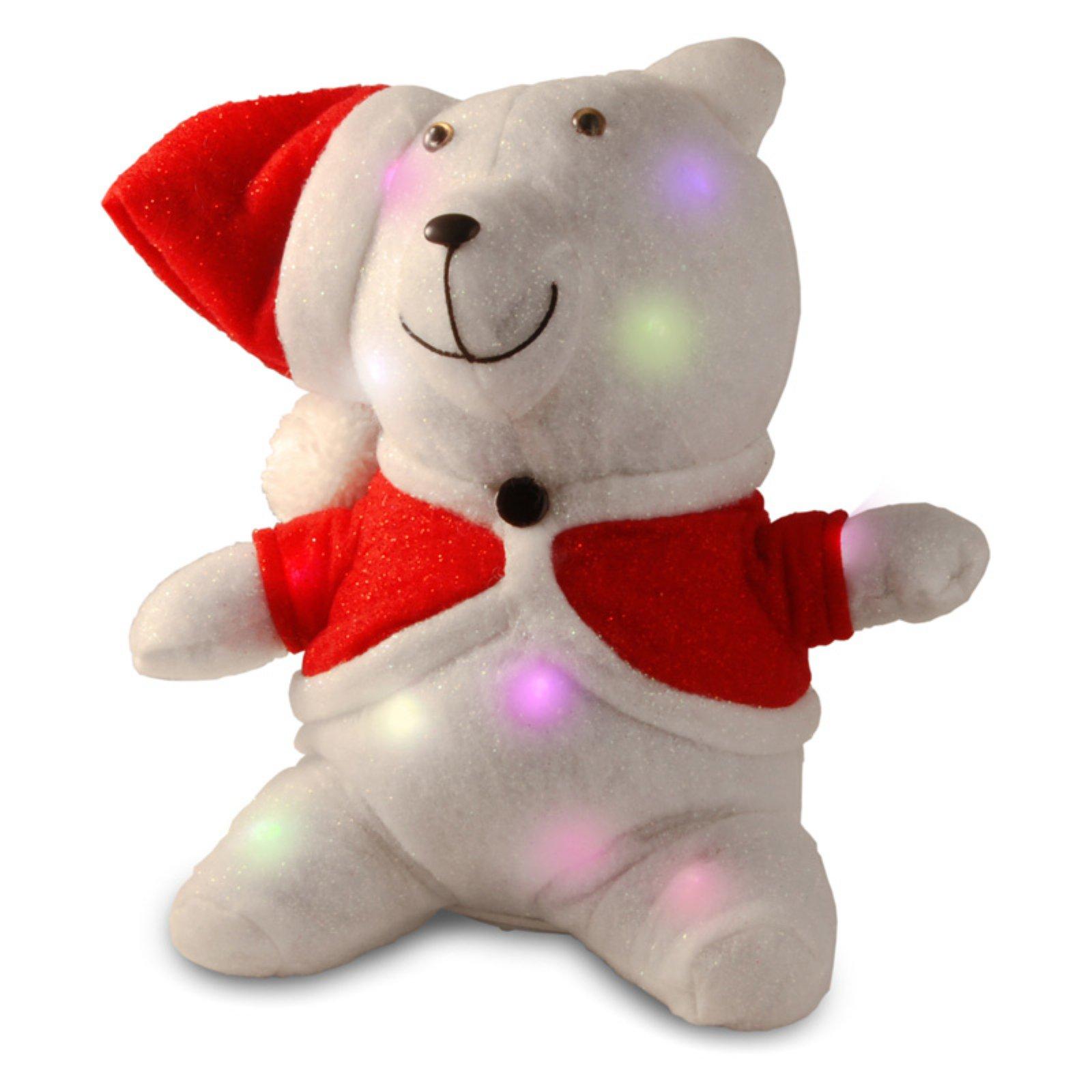 """National Tree 13"""" Cotton Red Bear with 13 Flashing LED Lights with Battery"""
