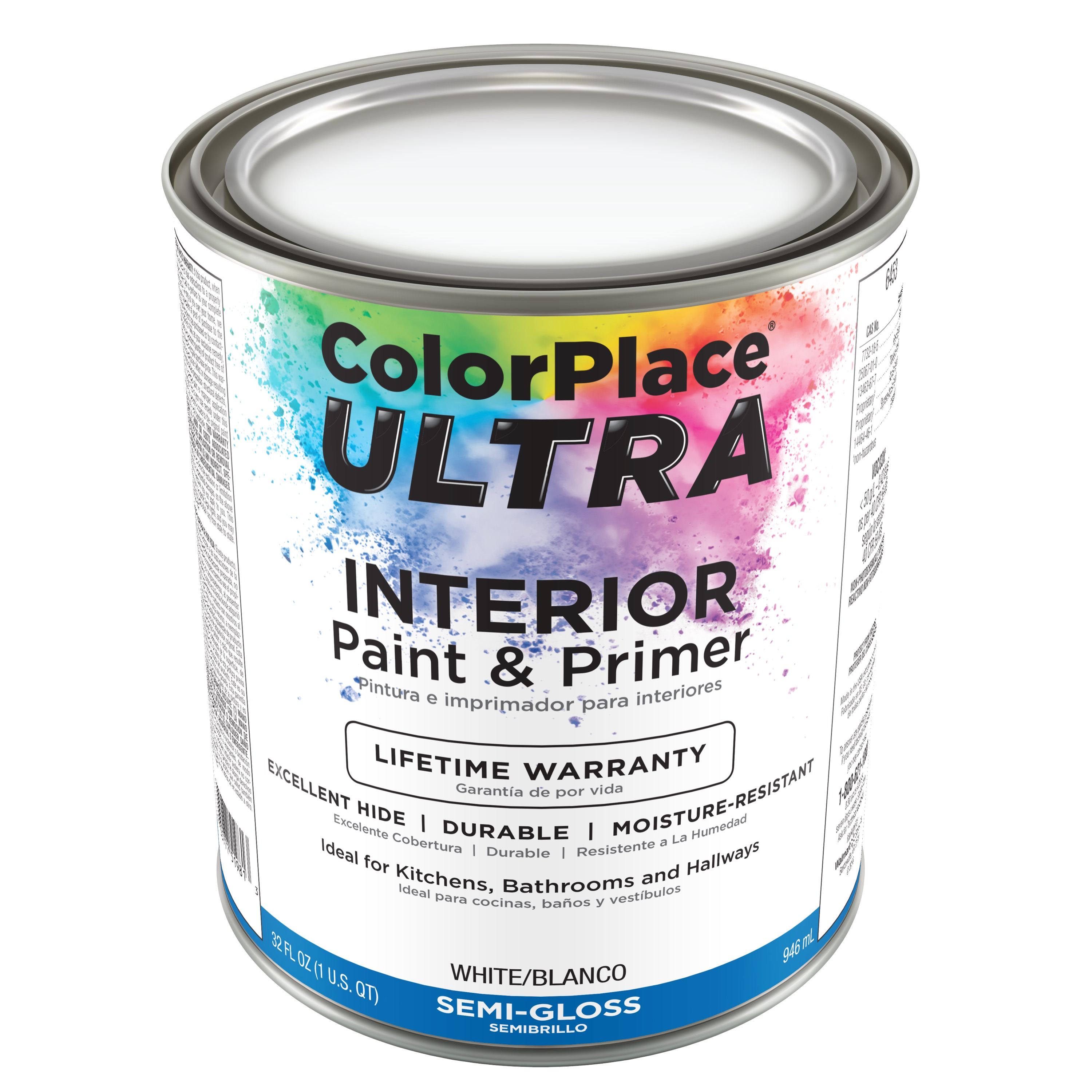 Color Place Ultra Semi-Gloss Interior White Paint & Primer, 1-Qt