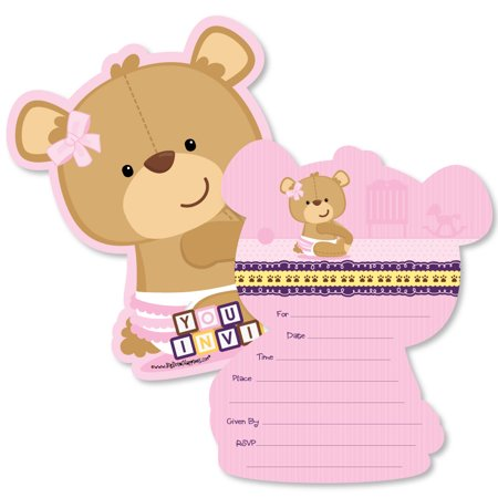 Baby Girl Teddy Bear - Shaped Fill-In Invitations - Baby Shower Invitation Cards with Envelopes - Set of (Teddy Bear Baby Shower Invitations)
