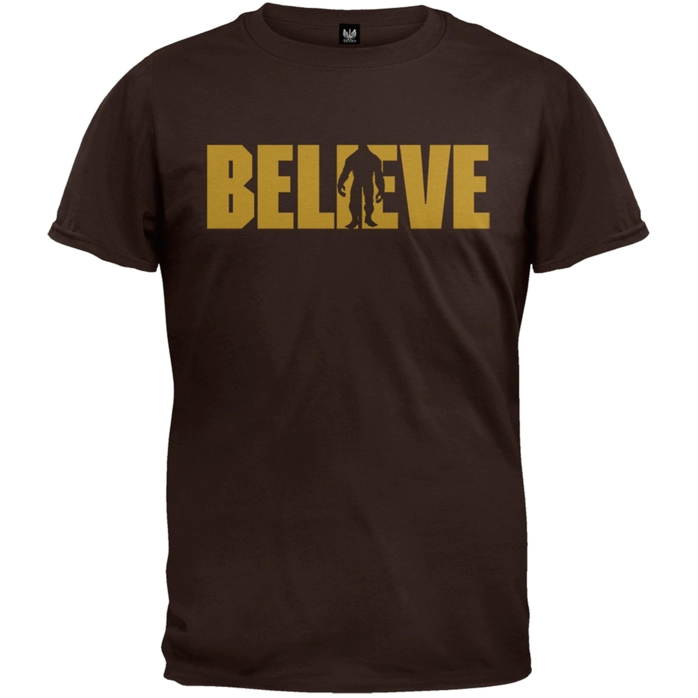 Bigfoot Believe Logo Brown Adult T-Shirt
