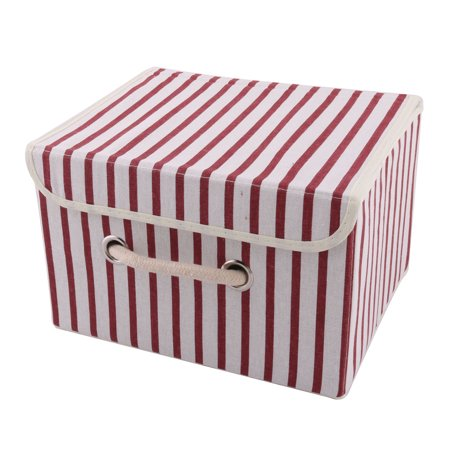 Bedroom Cotton Linen Stripe Pattern Clothes Underwear Socks Storage Box Case