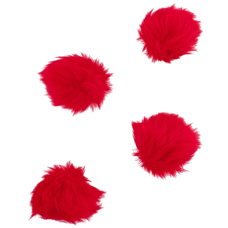 Lux Accessories Red Faux Fur Valentines Day Pom Pom Hair Clip Set (4PCS) - Gatsby Themed Prom Hair